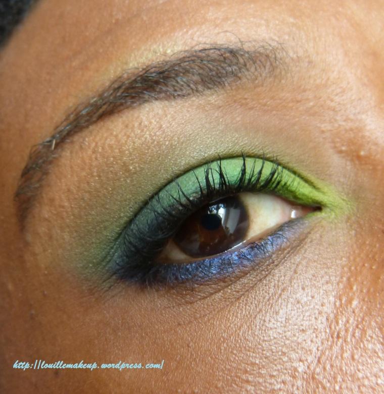 matos utilisé  -fards verts Vibrant Lime Green et prehistoric green (hot pots de coastal scents) -crayon bleu binge (urban decay) -Crayon blanc (base): jumbo NYx milk - crayon noir liquid eye milani
